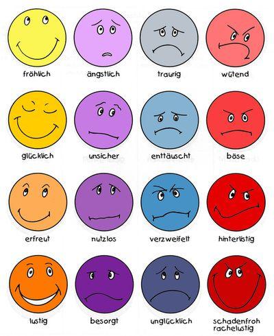 Wortschatz - Gefühle/Stimmungen (German vocabulary feelings, moods), used it as memory game in class