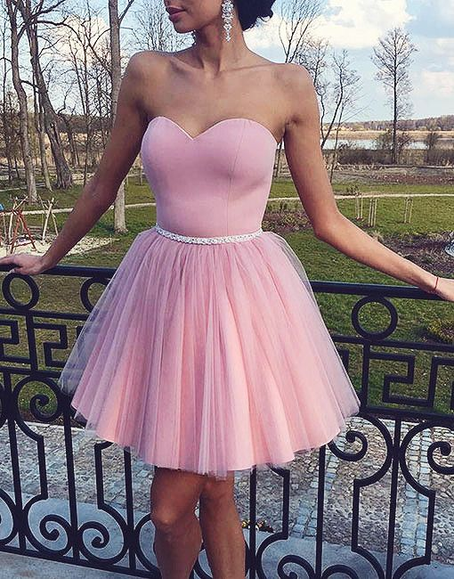 Simple sweetheart tulle short pink prom dress, pink dress