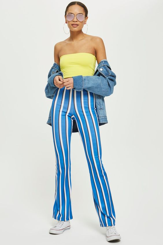 Blue Striped Flare Trousers - Clothing- Topshop Europe