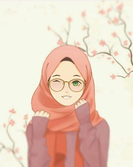 Kartun Muslimah hijab dengan senyum merona