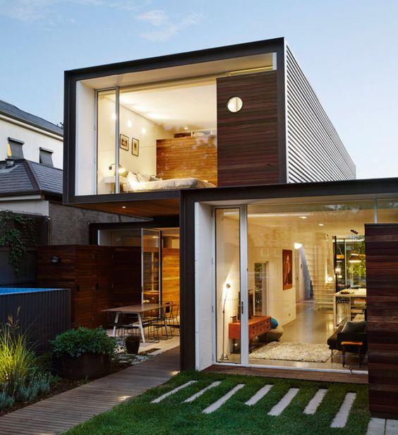 casa na austr lia feita com tr s cubos de vidro empilhados haus australien und. Black Bedroom Furniture Sets. Home Design Ideas