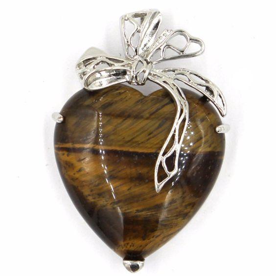 Tiger Eye Ribbon Heart Pendant