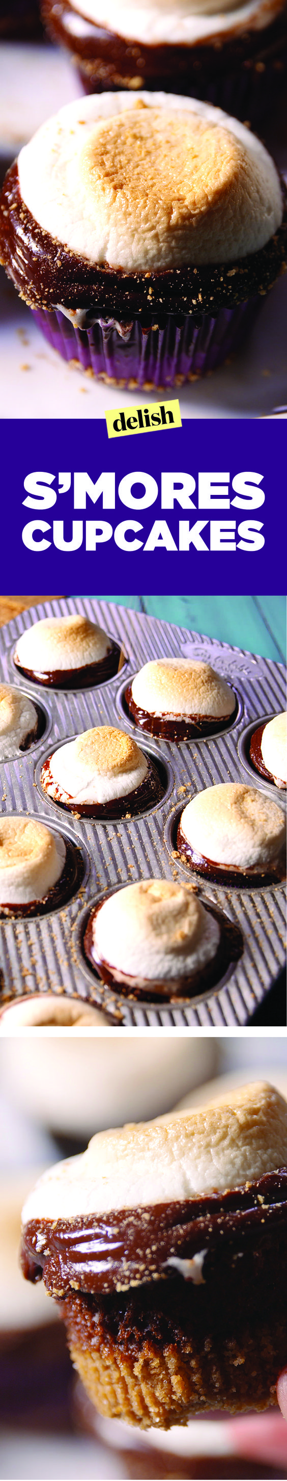 S'mores Cupcakes prove you don't need a campfire to get your s'mores fix. Get the recipe on Delish.com.