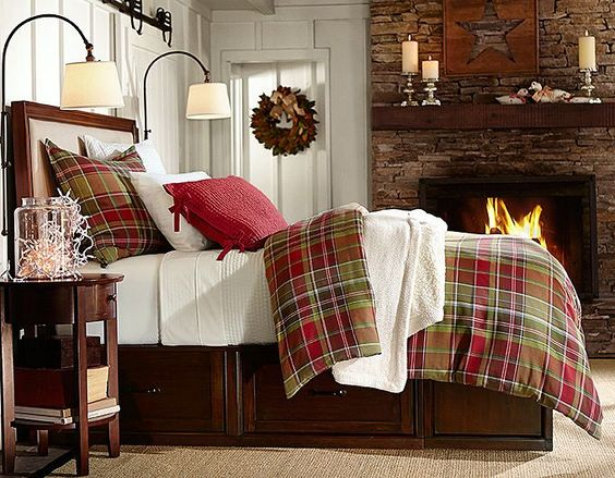 pottery barn christmas linens | Tahoe Plaid Duvet Cover & Sham Stratton Bed with Drawers Pick-Stitch ...
