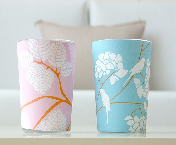 A clever use for beautiful paper scraps and old glass cups - decorative votives! (by Ivy Style33)