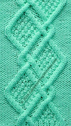 Knitting Stitches Double Moss : Cable Knitting Stitches   Cable Panel 17   Double Moss Stitch Diamonds Cabl...
