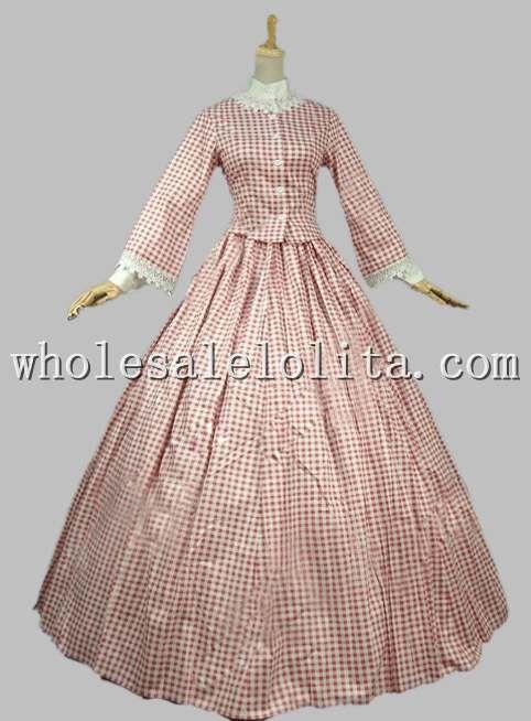 Civil War Cotton Gingham Gown Period Dress Reenactment Dress