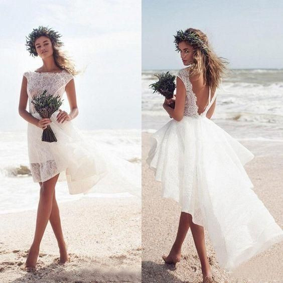Beach Short Lace Wedding Dress With Swallowtail Skirt Short Wedding Dress Beach Short Lace Wedding Dress Beach Wedding Dresses Backless