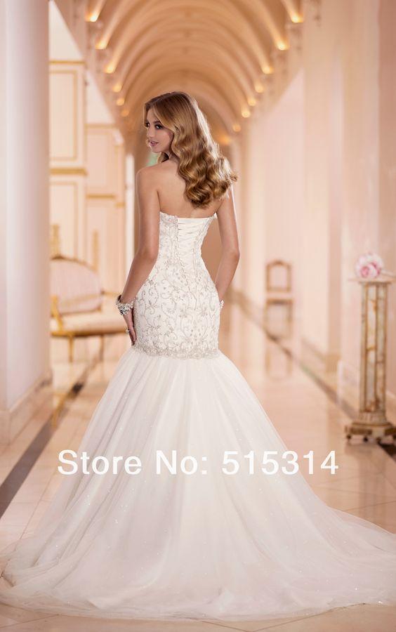 vestidos de noiva com cristal sereia sexy Custom Made 2014 New Mermaid Crystal Beading Wedding Dress Free Shipping ST6-