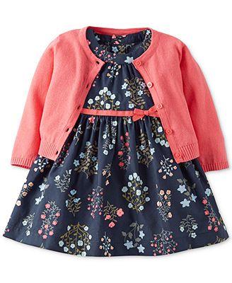 Carter s Baby Girls 2 Piece Dress & Cardigan Set