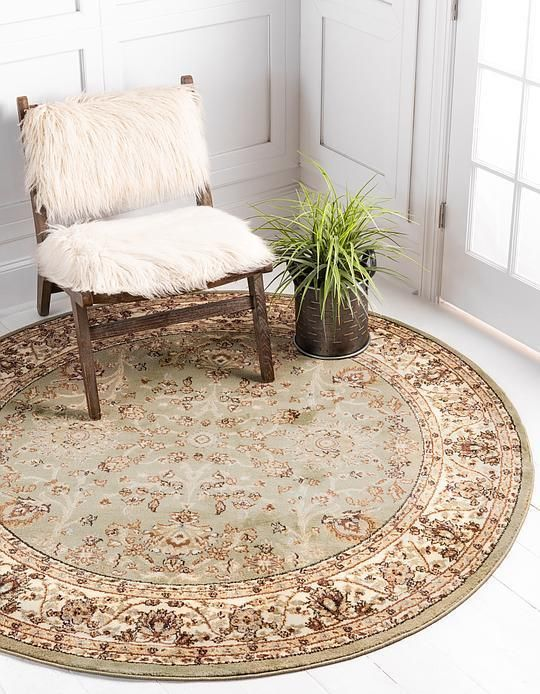 Light Green Classic Agra Area Rug Rugs Round Area Rugs Round Rugs