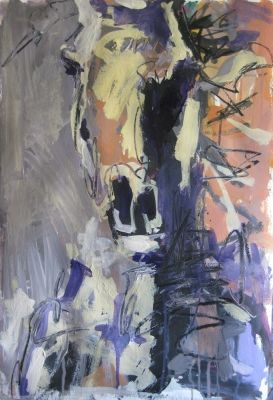 Original mixed media abstract horse painting on paper, painting by Robert Joyner