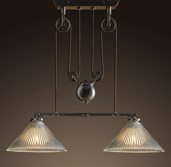 Vintage ceiling lights that are on pullys industrial for When is restoration hardware lighting sale