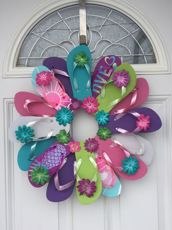 Flip Flop Bright Colors Wreath/pineapples/sunset