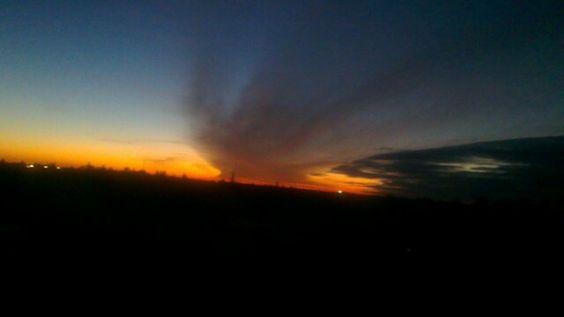 Couché de soleil sur la plaine