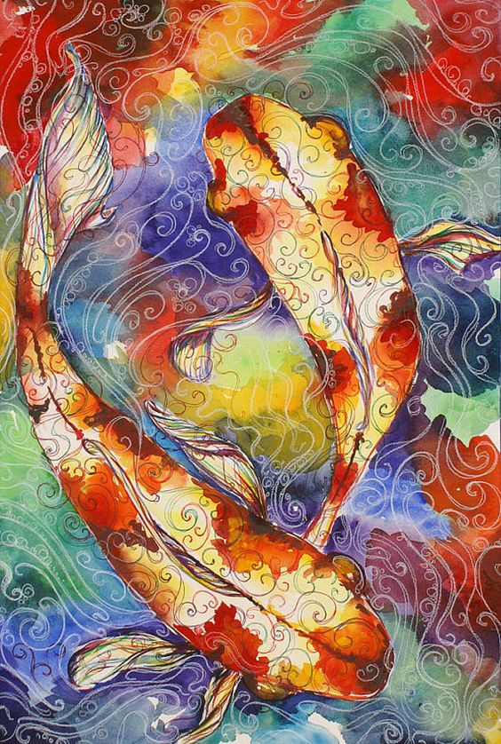 Love the colors love the flow koi goldfish couple for Original koi fish