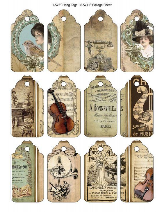 Sheet tags of music | Teksten & Spreuken | Nostalgie & Brocante