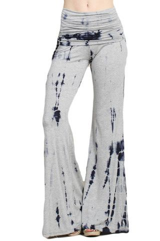 Womens Sexy Blue Purple White Tie Dye Wide Leg Palazzo Yoga Pants ...