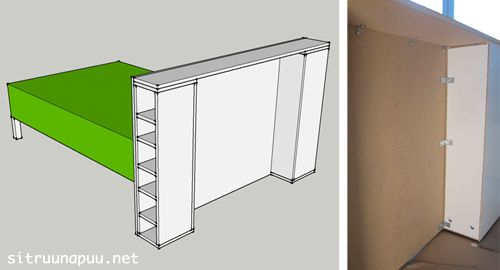 DIY headboard with built-in storage.  non-english source site, but I think all you'd need is some building know-how and your bed measurements plus some pre-fab'd bookcases to use for those shelves.