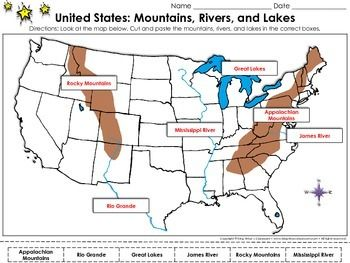 United States Map Mountains Rivers And Lakes Cut And Paste - Us map with nountains