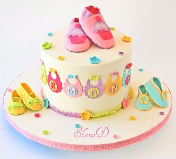 Super Cute Fondant Baby Shower Cake