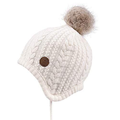 Somaler Toddler Kids Winter Ear Flap Beanie Hat Boy Girl Fur Pompom Knit Hats Girls Winter Hats Girls Fur Winter Hats