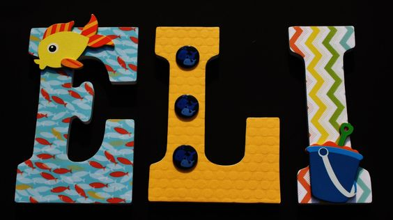 Nursery Letters, Custom Wood Letters, Boy's Room, Beach Letters, Baby Shower Gift by AlphabetArtists on Etsy