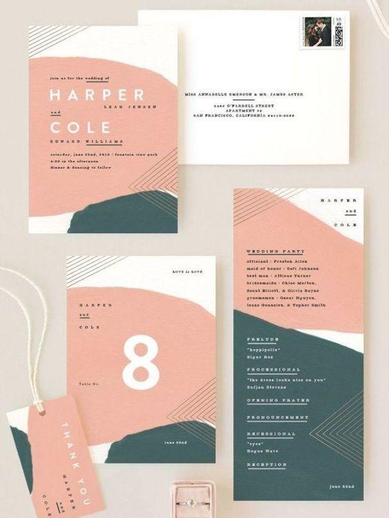 Kuvassa on erilaisia kutsu- ja pakettikorttimalleja joissa on käytetty yhtenäistä värimaailmaa.