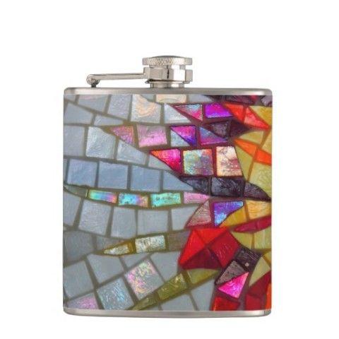 Floral Mosaic Flask - JUSTART on Zazzle