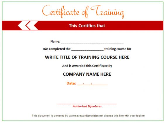 Training Certificate from word templates online – Online Certificate Template