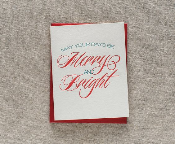 May Your Days Be Merry and Bright - letterpress christmas card 2013 #handmade #christmas