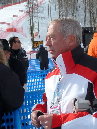 Austrian ski legend Karl Schranz. (ATR) For the lastest news on the Olympics go to http://aroundtherings.com or add us on Facebook. http://facebook.com/aroundtherings
