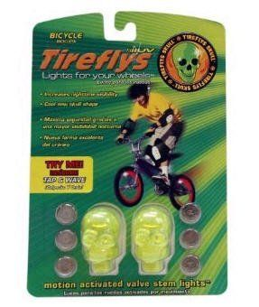 Tireflys UV Green Skull Valve Stem Light by TireFlys. $6.20. With the UV Green Skull from Tireflys, everyone gets something that they like. Children get a cool light up skull they can take with them wherever they go on their bike, and parents get the safety function of a motion sensitive flashing light. The lights add increased nighttime visibility for riders, and raises awareness to motorists that they may be sharing the road. The Tireflys UV Green Skull provides a unique opp...