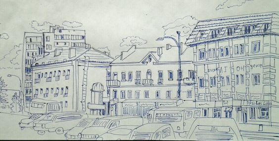 Rivne, Soborna street, Ukraine, sketch