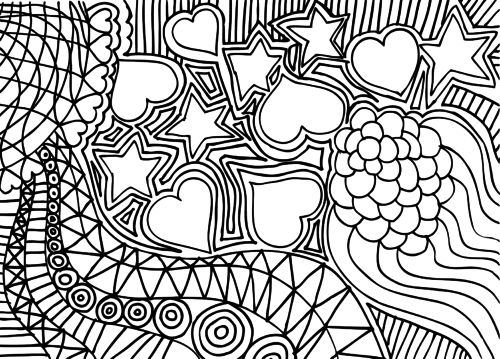 doodle coloring page hearts and stars - Relaxing Coloring Pages
