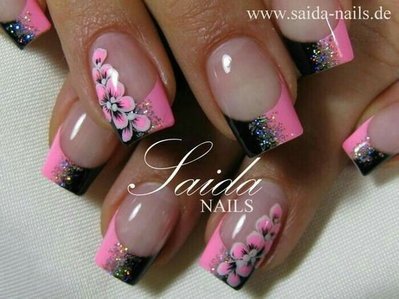 Pink & black with flower nails