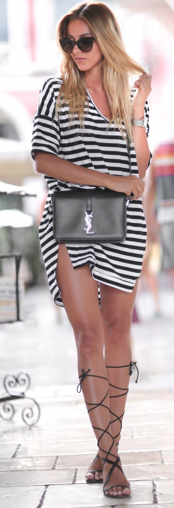 V-neck Striped Tee Dress Ysl Black Bag Black Flat Gladiators: