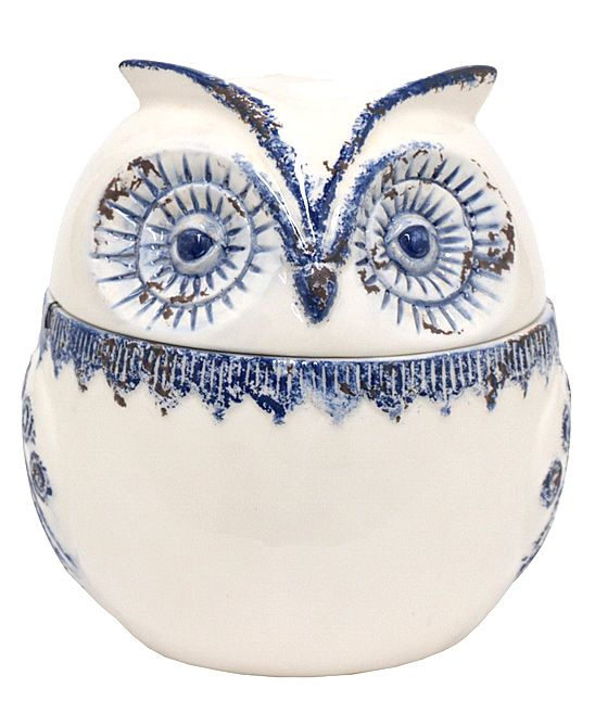 Blue & White Distressed Owl Covered Jar