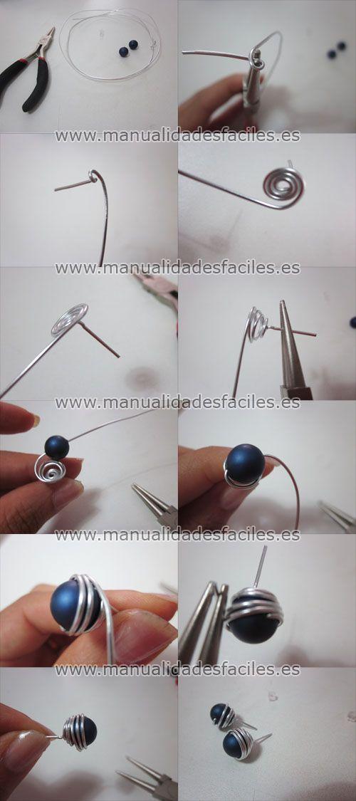 Pendientes bola con alambre mágico