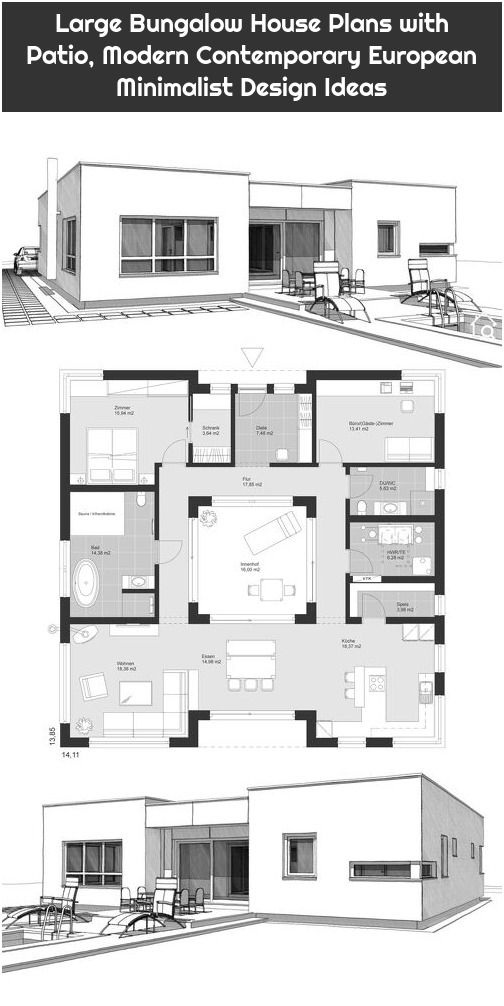 Large Bungalow House Plans With Patio Modern Contemporary European Minimalist Design Ideas Bungalow House Plans Modern Bungalow House House Plans