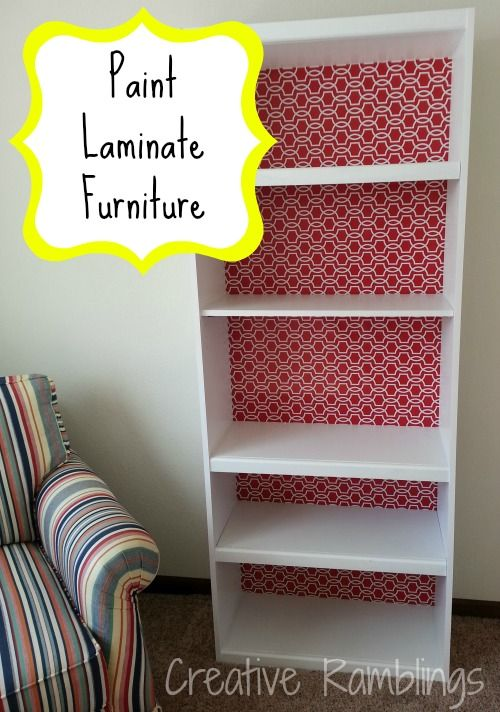 How to Paint Laminate Furniture - reuse that old bookcase!  I want to use fabric on the back instead of paper. But I like the idea of taking off the back and wrapping the fabric around it. For the girls closet.