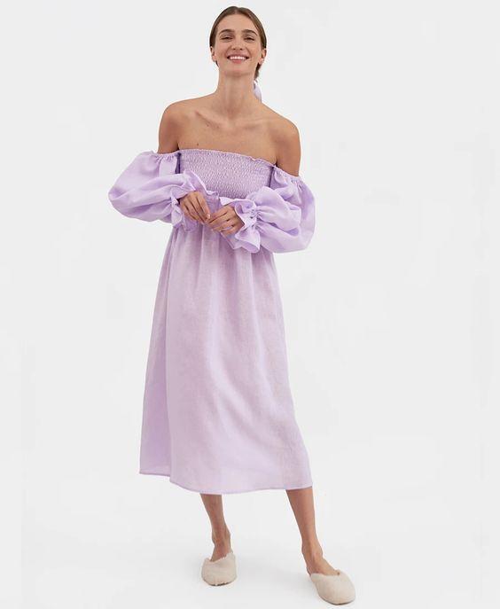 Atlanta Linen Dress in Lavender, £245, Sleeper at Studio B