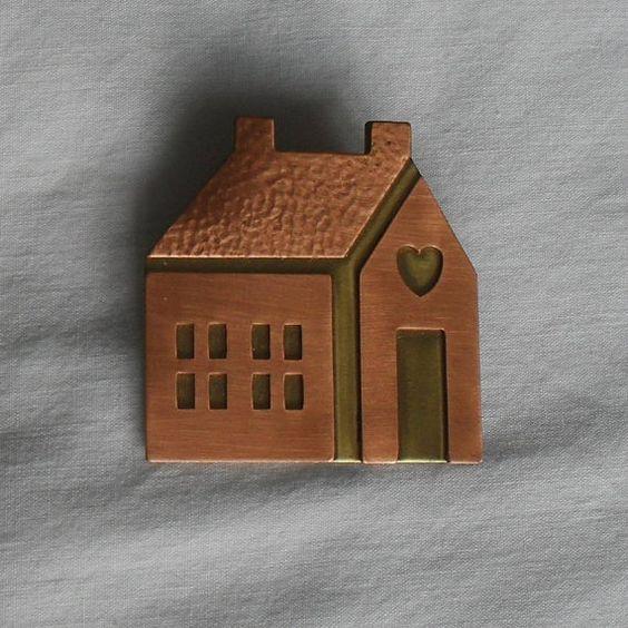 Copper Brooch Pin Folk Art School House Teacher Gift by EllaPhoebe