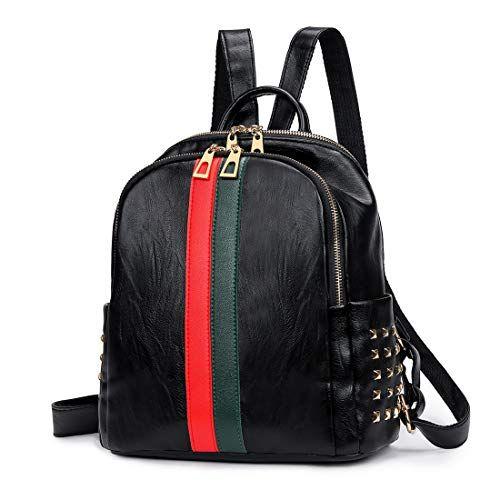 Ladies PU Leather Backpack Daypack Convertible Rucksack  Weekender Bag Tote