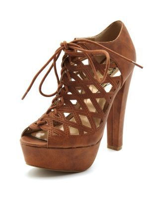 Caged Leatherette Lace-Up Bootie