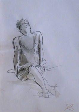 "Saatchi Art Artist Frederic Belaubre; Drawing, ""Seated Model 1"" #art"