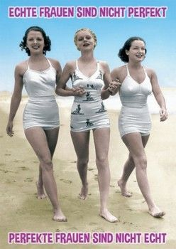 Postkarte A6 Lustig Echte Frauen Vintage Schwimmen Vintage Outfits