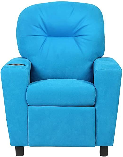 Blue Recliner Sofa Child Armchair Kids Adjustable Backrest Chair Couch Lounge Footrest Cupholder With Ebook In 2020 Living Room Recliner Kids Recliners Furniture