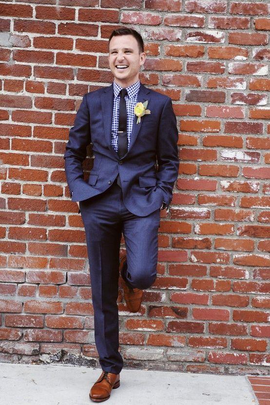 gingham shirt, blue suit, brown shoes | Josh fashion | Pinterest