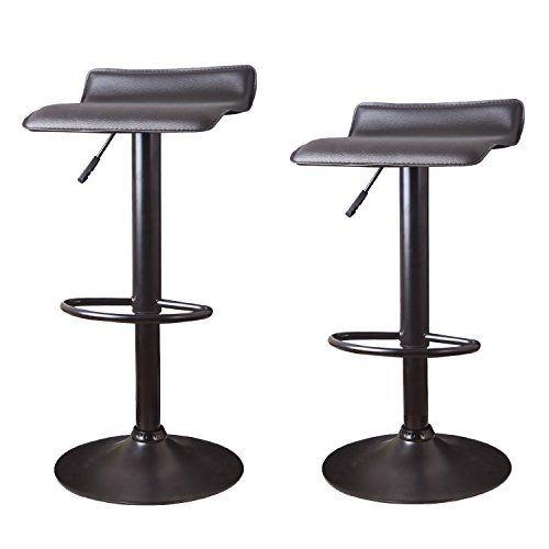 Adeco Hydraulic Lift Cushioned Adjustable Swivel Counter Barstool Black Vinyl Seat On Black Pedestal Base Bar Stools Backless Bar Stools Swivel Bar Stools